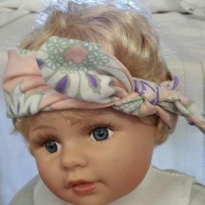 Miugle soft baby headband, peach, purple and green
